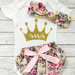US Newborn Baby Girls 1st Birthday Outfits Clothes Set One Y