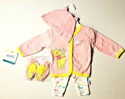 DISNEY WINNIE THE POOH INFANT BABY GIRL 4 PC OUTFIT 0-3 3-6
