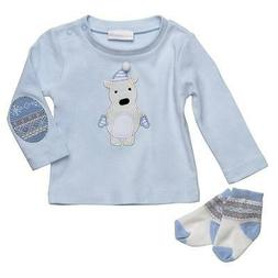 Elegant Baby Winterland Boy Blue Bear Applique Top Socks Box