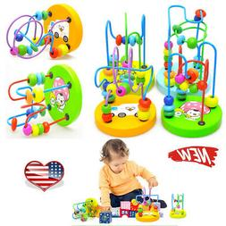 Wooden Toys Baby Math Colorful Mini Around Beads Wire Maze E
